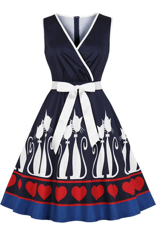 productos / Halloween_Cat_Print_V-neck_Vintage_Dress_1.jpg