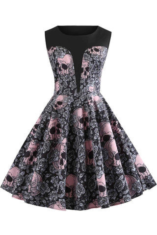 Halloween Vintage Skull Print Sleeveless Dress