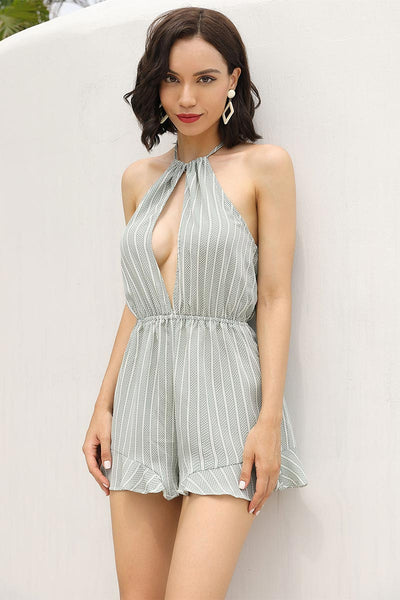 Halter Neck Cutout Backless Romper