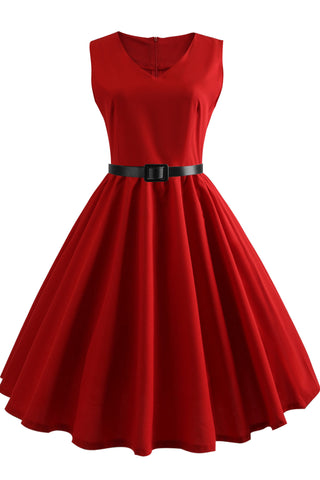Hepburn Solid A-line Sleeveless Dress