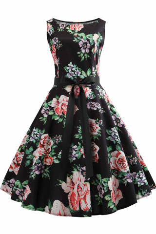 Hepburn Vintage Floral Sleeveless Dress