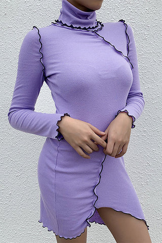 High Neck Skinny Ribbed Dress