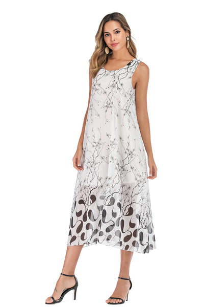 Floral Print Loose Scoop Chiffon Casual Maxi Dress