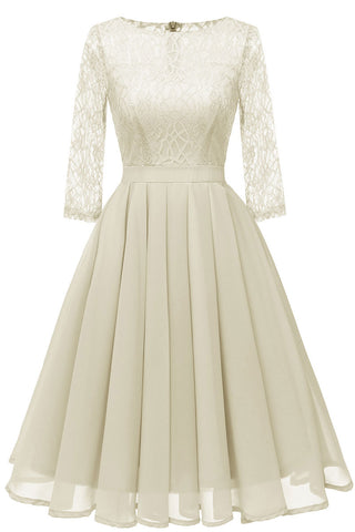 Ivory A-line Short Lace Prom Dress With Sleeves