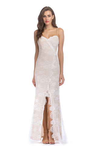 Ivory Lace Spaghetti Straps Backless Slit Bodycon Prom Dress