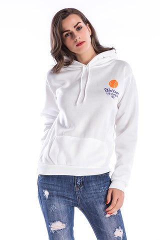 Kangaroo Pocket Hooded Printed Sweatshirt