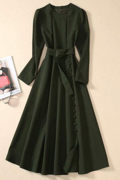 Kate Middleton Dark Green Button-up Midi Dress With Belt