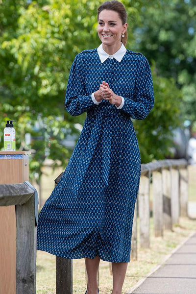 Kate Middleton Long-sleeved Print Midi Shirt Dress