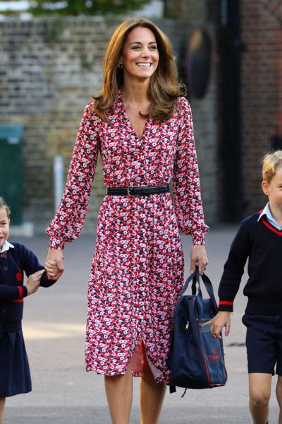 Kate Middleton Floral Print Casual Shirt Dress