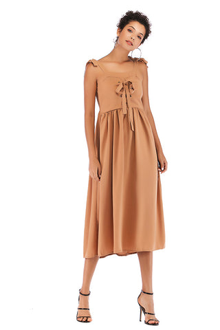 Knot Strap Lace-up Front Chiffon Dress