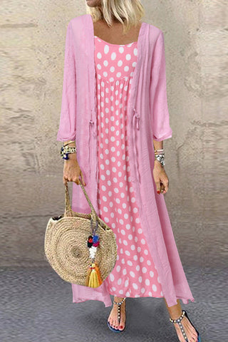 Pink Polka Dot Two-piece Maxi Dress
