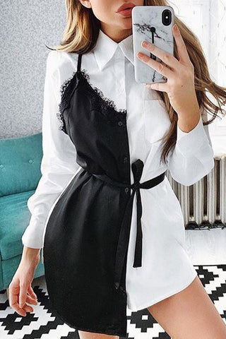 Lace Patchwork Button Up Shirt Dress