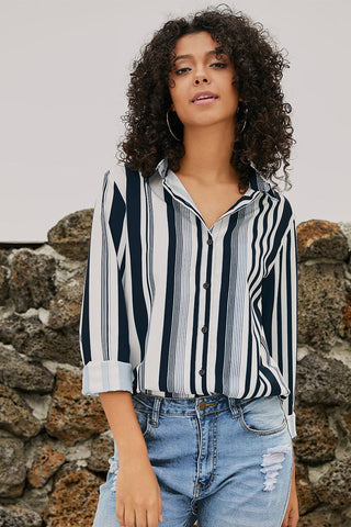 Lapel Single Breasted Striped Blouse