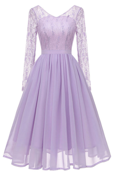 Lavender V-neck Lace A-line Prom Dress With Long Sleeves