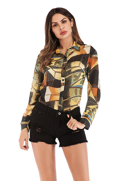 Leafy Print Lapel Single Breasted Blouse