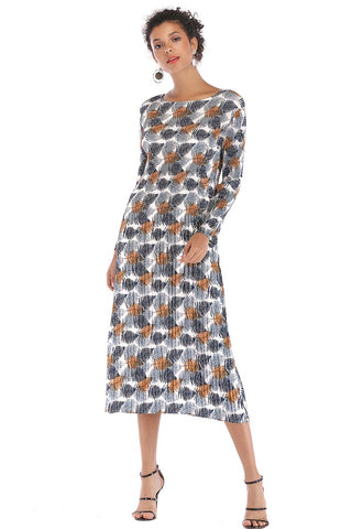 Leafy Print Long Sleeve Chiffon Dress