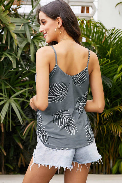 V Neck Leafy Print Sleeveless Cami Top