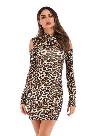 Leopard Print Off-the-shoulder  Front Zipper Bodycon Dress