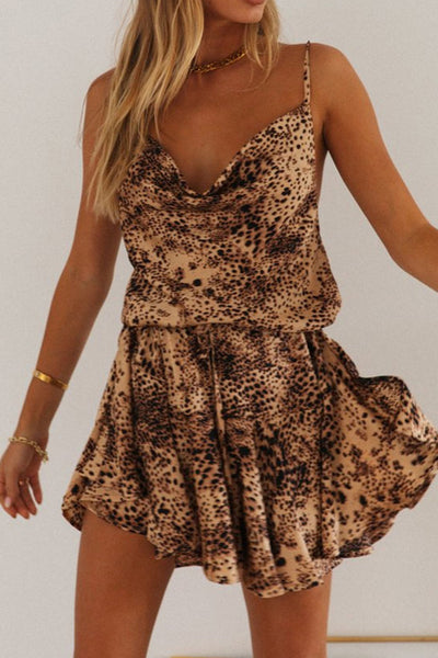 Leopardenmuster Cowl Cami Kleid
