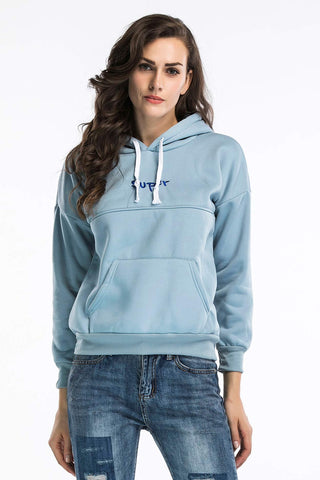 Letter Embroidered Hooded Pocket Sweatshirt