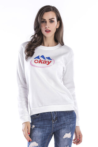 Letter Print Round Neck Cotton Sweatshirt
