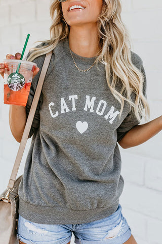 Letter Print Casual Scoop Sweatshirt