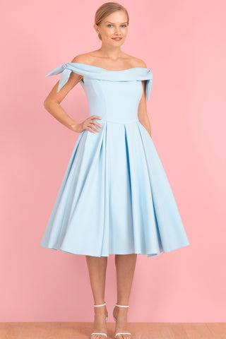Light Sky Blue A-line Off-the-shoulder Cocktail Dress