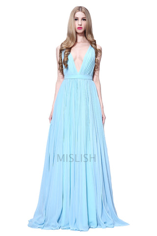Light Sky Blue Deep V-neck Sleeveless Prom Dress