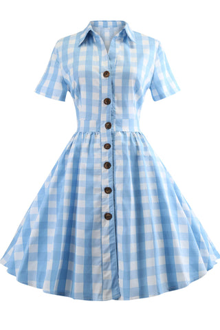 Light Sky Blue Plaid Buttoned Dress