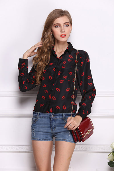 Lip Print Single Breasted Blouse