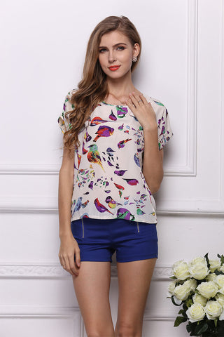 Little Fresh Bird Print Chiffon Blouse