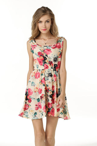 Little Fresh Floral Print Sleeveless Ruched Short Dress