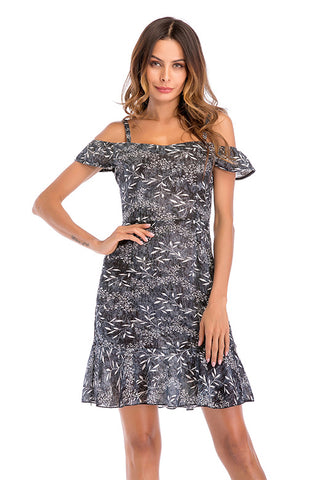 Little Fresh Floral Ruffled Off-the-shoulder Casual Dress