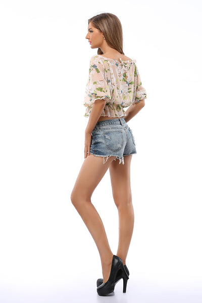 Little Fresh Floral Off-the-shoulder Peplum Crop Blouse
