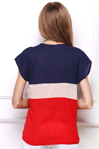 Little Fresh Tricolor Tee With Short Sleeves