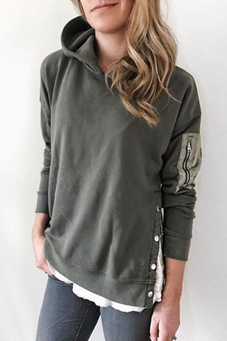 Long Sleeve Pocket Patch Casual Hoodie