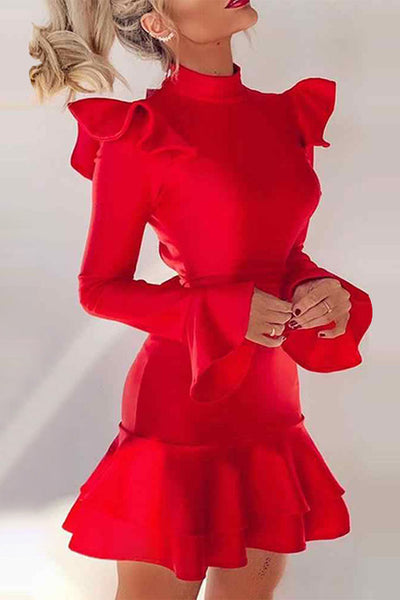 Mini Red Langarm Party Homecoming Kleid