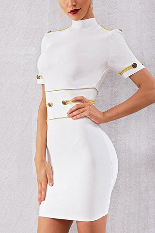 Mock-Neck Epaulet Bandage Dress With Short Sleeves