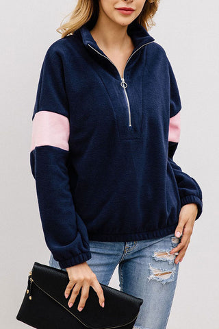 Half Zip Mock-neck  Sweatshirt