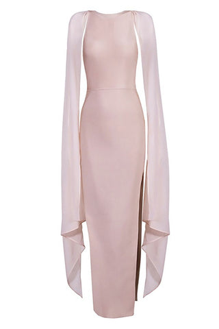 Nude Capped Sleeves Long Thigh-high Slit Bandage Dress