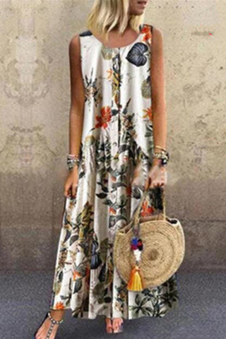 Floral Button Tank Maxi Dress