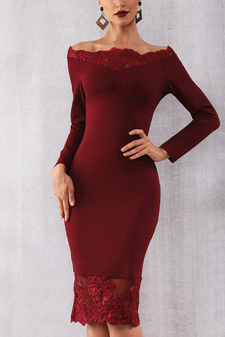 Off Shoulder Lace Panel Bandage Dress