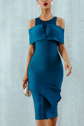 Off-the-shoulder Asymmetric Hem Bodycon Dress