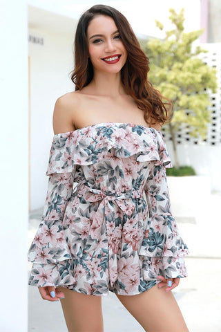 Off-the-shoulder Backless Belted Floral Dress With Trumpet Sleeves