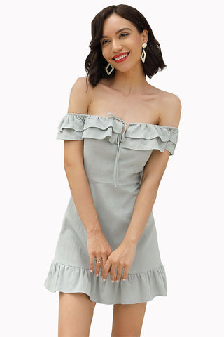 Off-the-shoulder Backless Empire Fitted Ruffled Dress