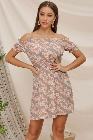 Off-the-shoulder Empire Spaghetti Straps Printed Dress