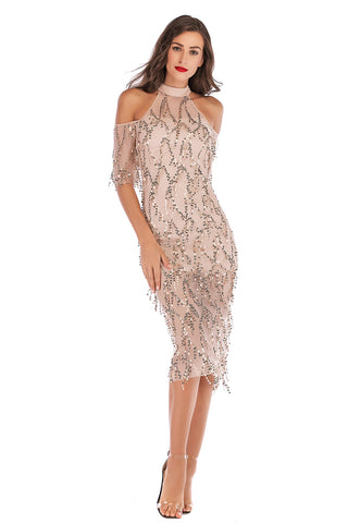 Off-the-shoulder High Neck Sequined Tasseled Sparkly Midi Dress