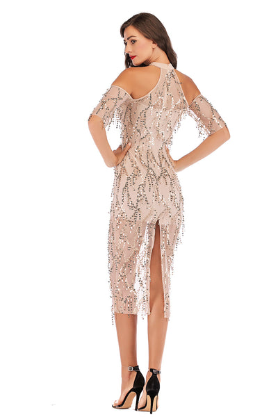 Schulterfreies High Neck Sequined Tasseled Sparkly Midi Dress