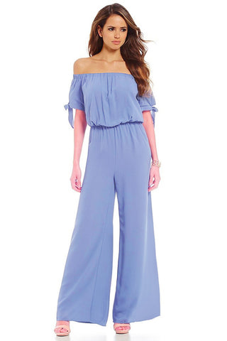 Off-the-shoulder Knot Cuff Chiffon Jumpsuit