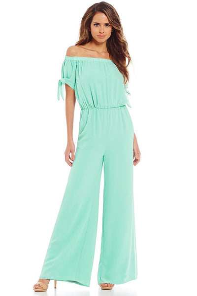 Off-the-Shoulder-Knot Cuff Chiffon-Overall